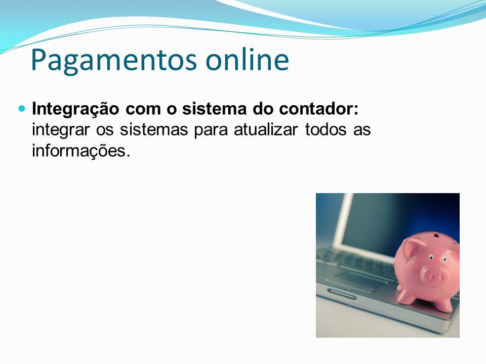 Pagamentos online Integração com o sistema do contador: integrar os sistemas para atualizar todos as informações.