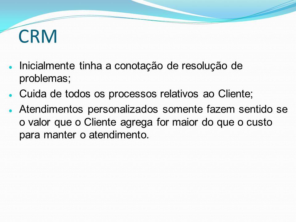 CRM Inicialmente tinha a conotação de resolução de problemas;