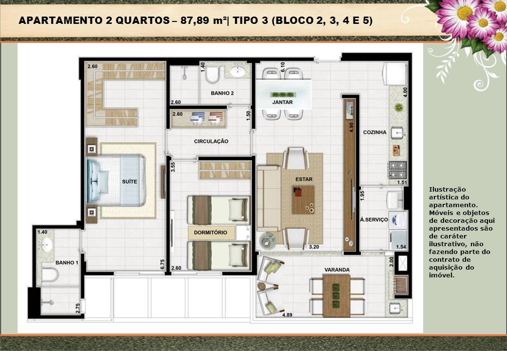 APARTAMENTO 2 QUARTOS – 87,89 m²| TIPO 3 (BLOCO 2, 3, 4 E 5)