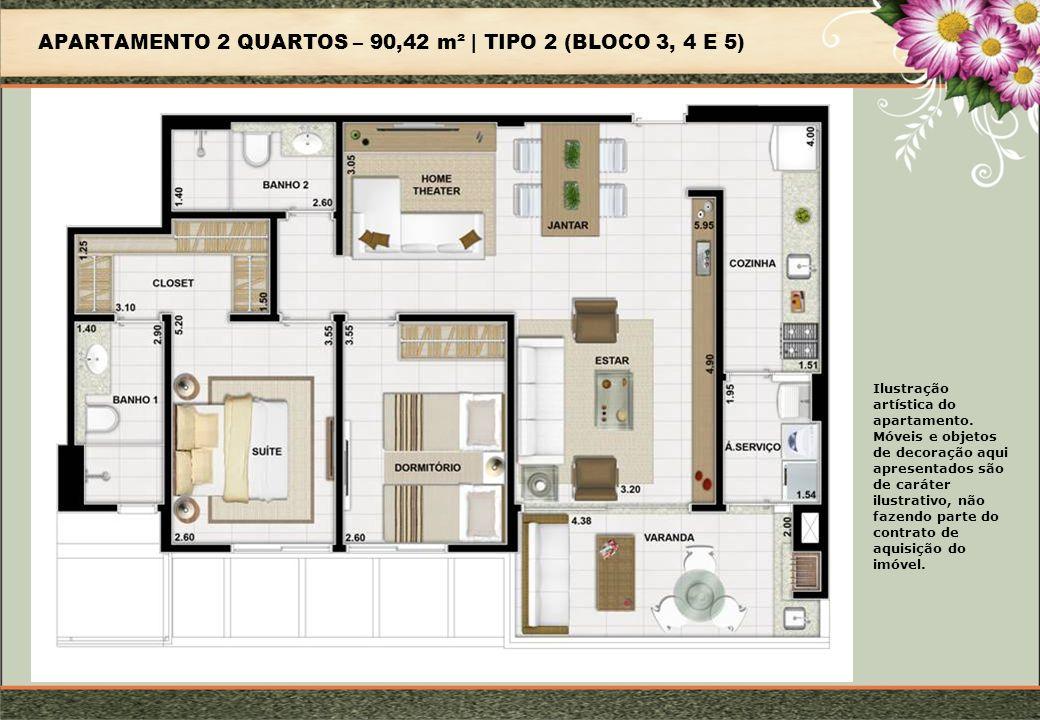 APARTAMENTO 2 QUARTOS – 90,42 m² | TIPO 2 (BLOCO 3, 4 E 5)