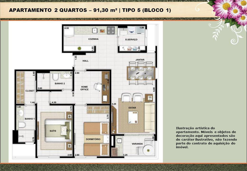 APARTAMENTO 2 QUARTOS – 91,30 m² | TIPO 5 (BLOCO 1)