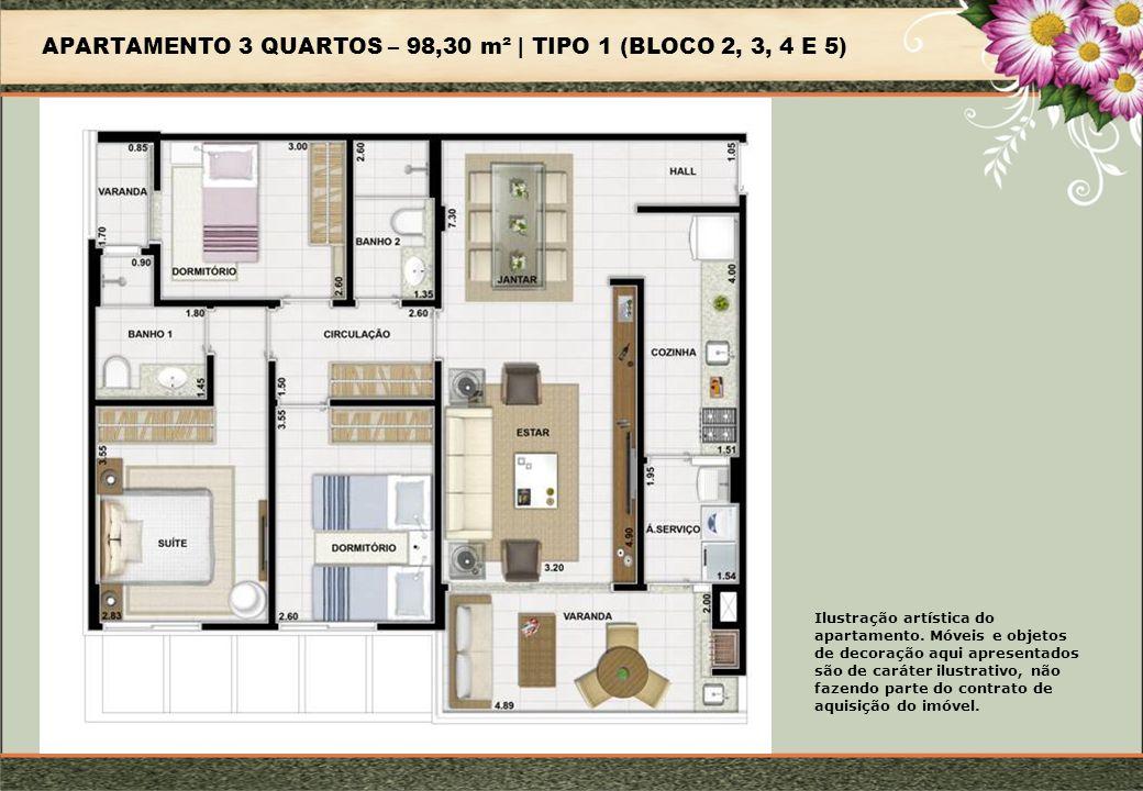 APARTAMENTO 3 QUARTOS – 98,30 m² | TIPO 1 (BLOCO 2, 3, 4 E 5)