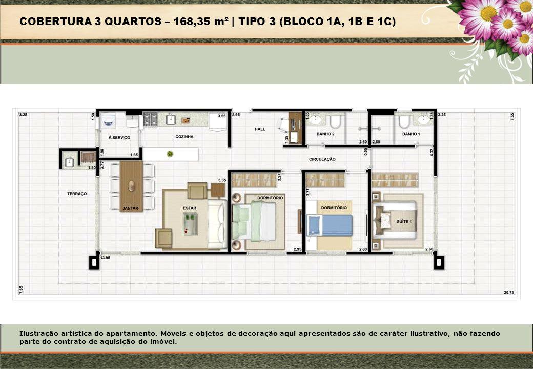 COBERTURA 3 QUARTOS – 168,35 m² | TIPO 3 (BLOCO 1A, 1B E 1C)