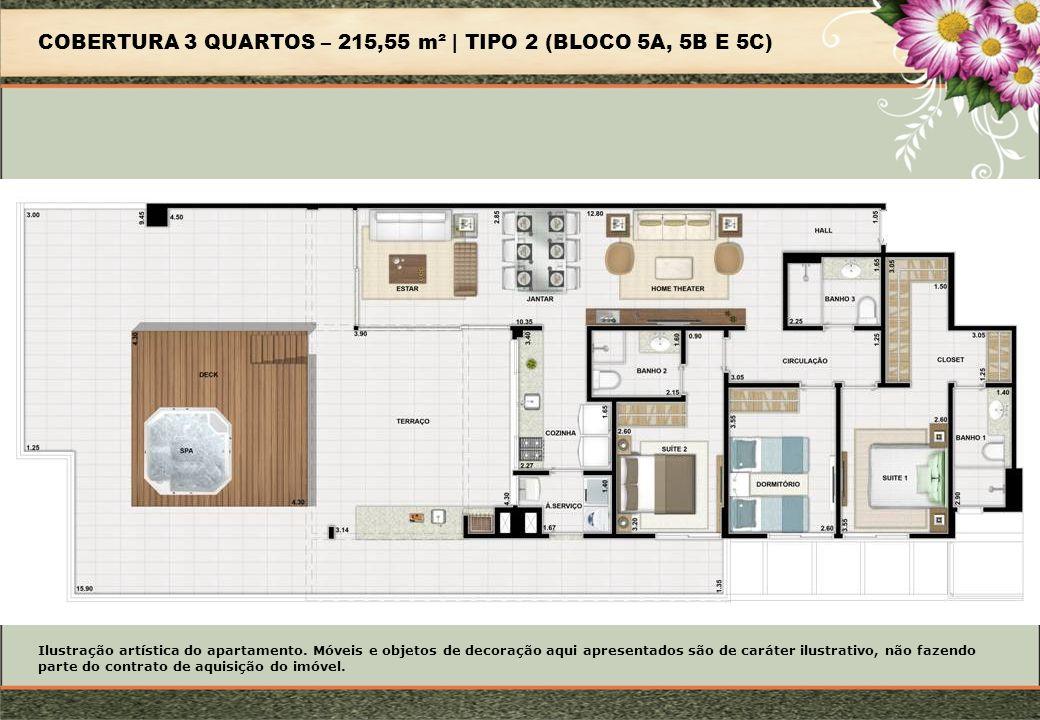 COBERTURA 3 QUARTOS – 215,55 m² | TIPO 2 (BLOCO 5A, 5B E 5C)