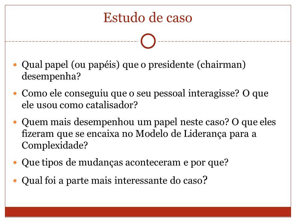 Estudo de caso Qual papel (ou papéis) que o presidente (chairman) desempenha