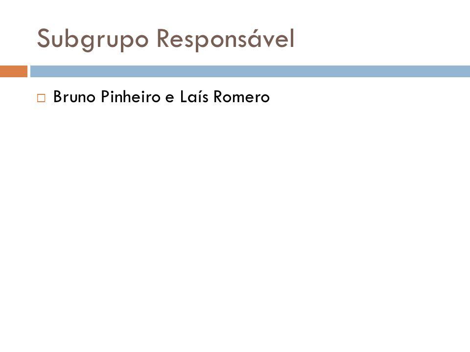 Subgrupo Responsável Bruno Pinheiro e Laís Romero
