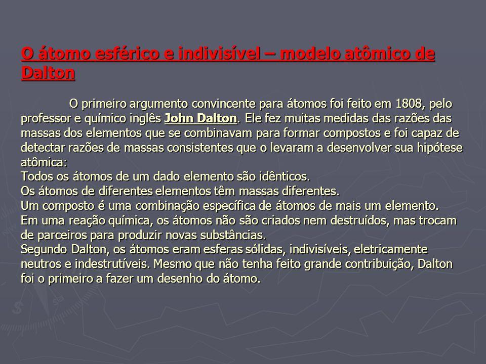 O átomo esférico e indivisível – modelo atômico de Dalton