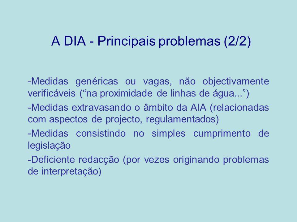 A DIA - Principais problemas (2/2)