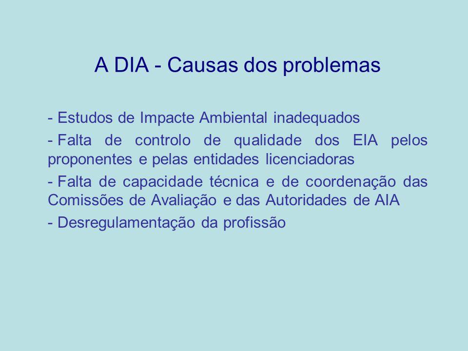 A DIA - Causas dos problemas