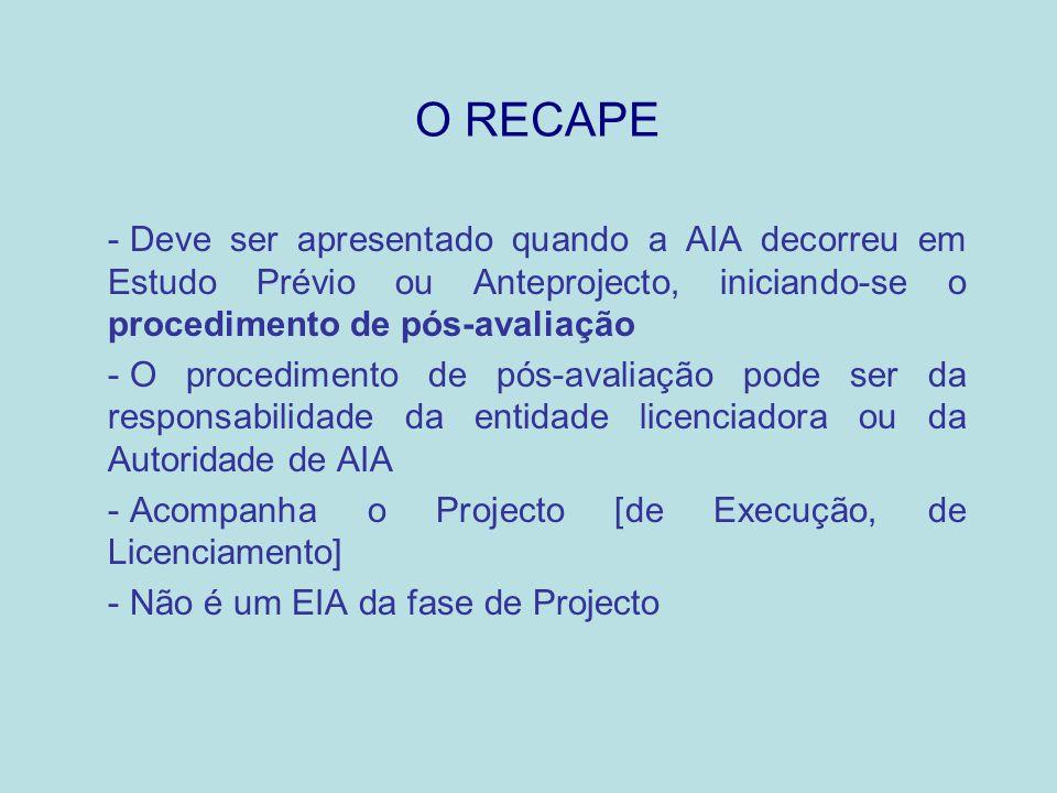 O RECAPE Deve ser apresentado quando a AIA decorreu em Estudo Prévio ou Anteprojecto, iniciando-se o procedimento de pós-avaliação.