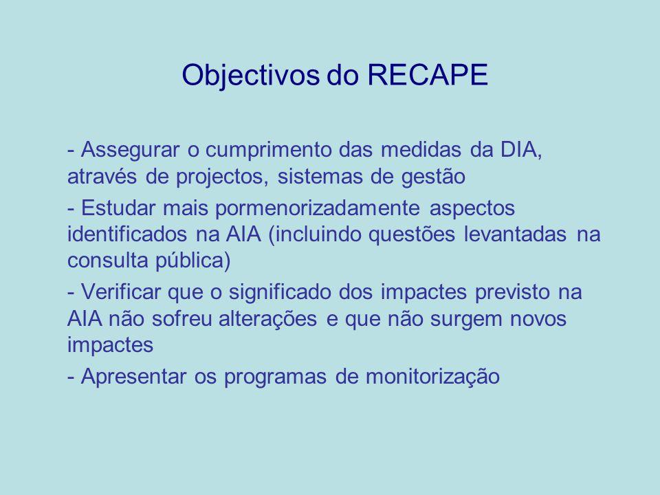 Objectivos do RECAPE Assegurar o cumprimento das medidas da DIA, através de projectos, sistemas de gestão.