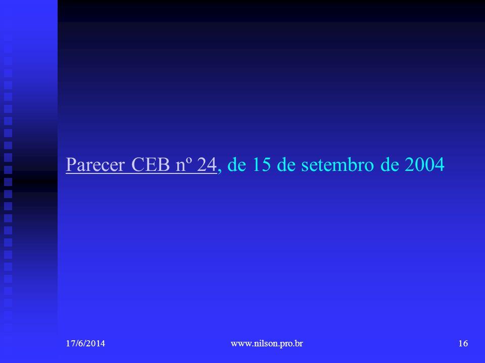 Parecer CEB nº 24, de 15 de setembro de 2004