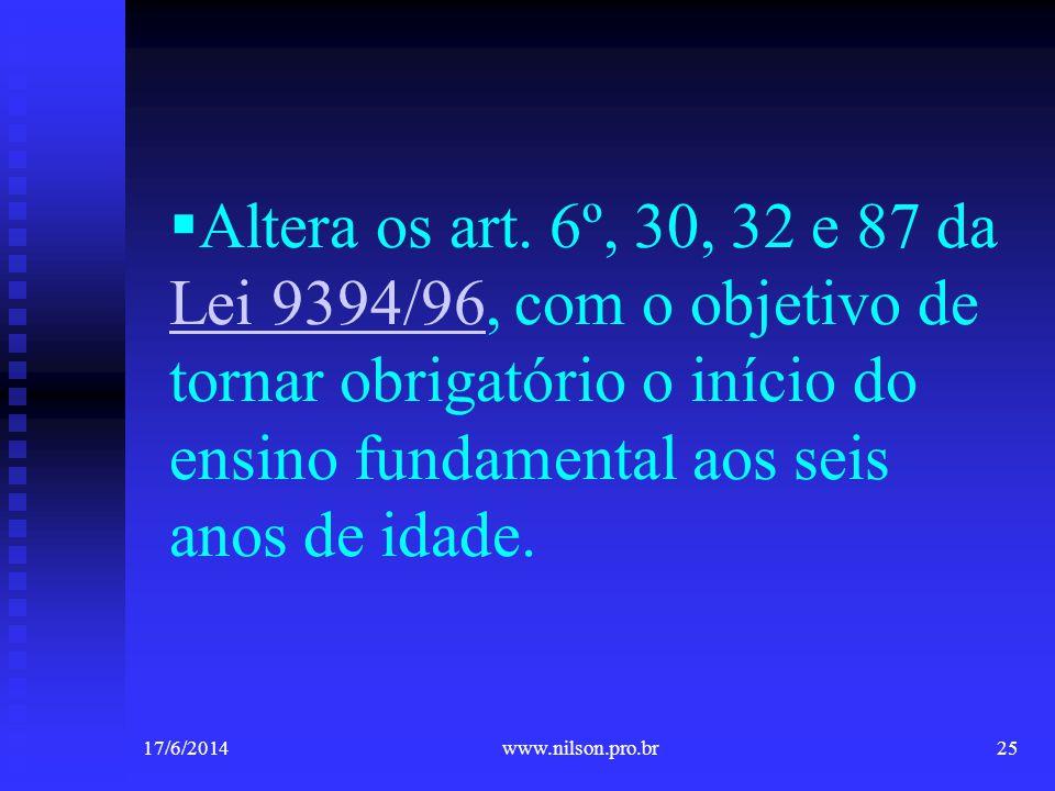 Altera os art. 6º, 30, 32 e 87 da Lei 9394/96, com o objetivo de tornar obrigatório o início do ensino fundamental aos seis anos de idade.