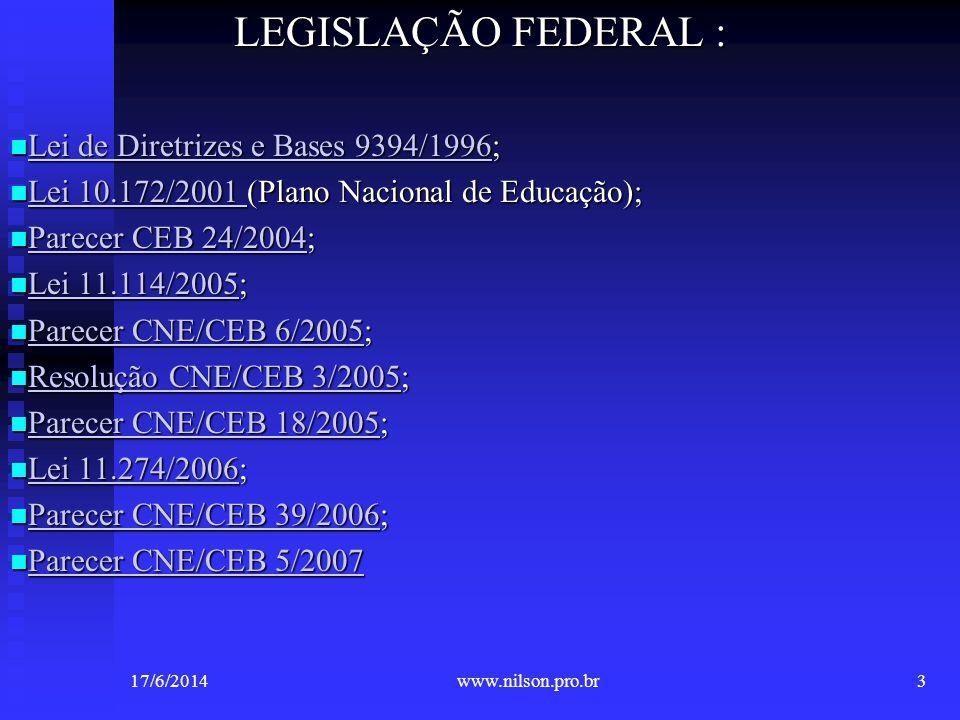 LEGISLAÇÃO FEDERAL : Lei de Diretrizes e Bases 9394/1996;