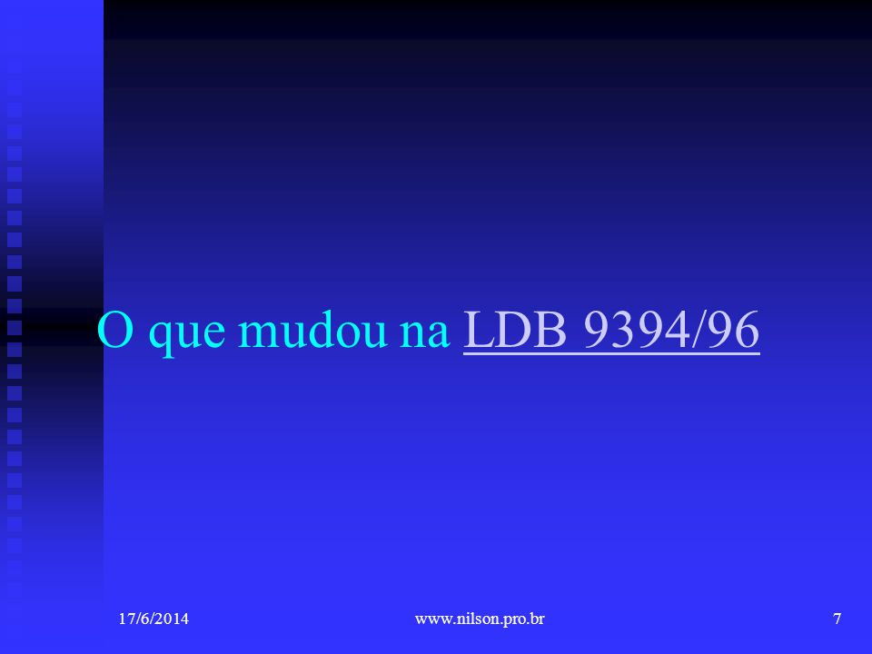 O que mudou na LDB 9394/96 02/04/2017 www.nilson.pro.br