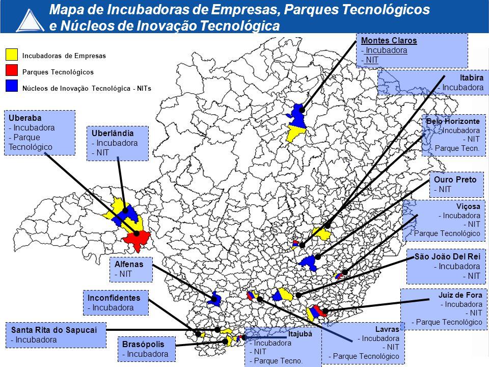 Mapa de Incubadoras de Empresas, Parques Tecnológicos