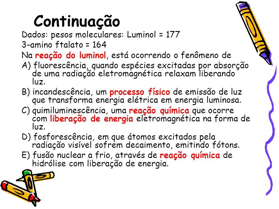 Continuação Dados: pesos moleculares: Luminol = 177