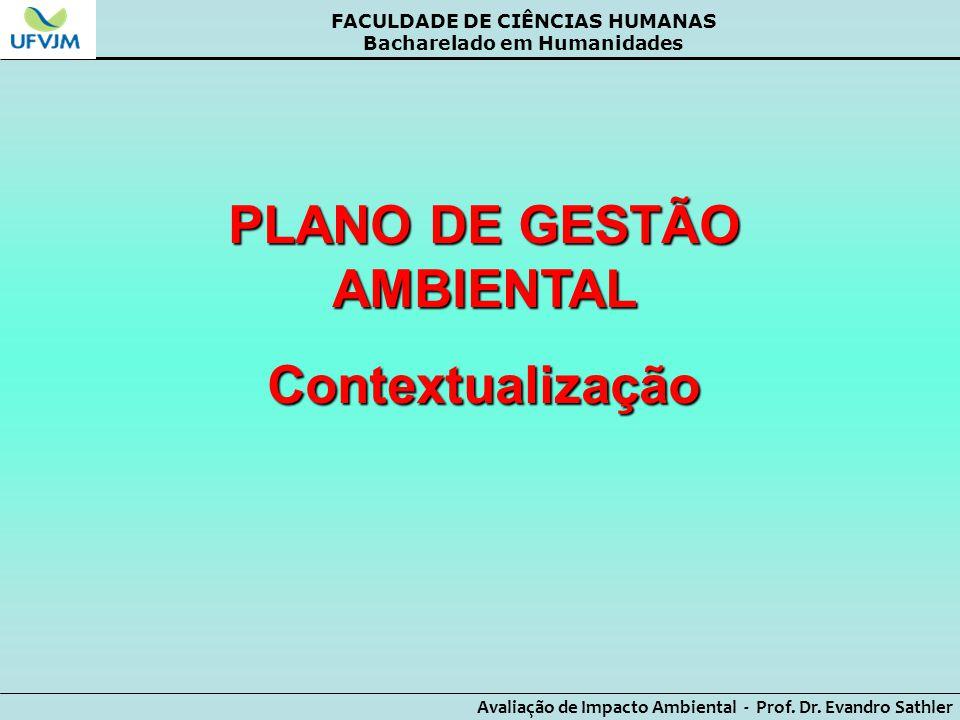 PLANO DE GESTÃO AMBIENTAL Contextualização
