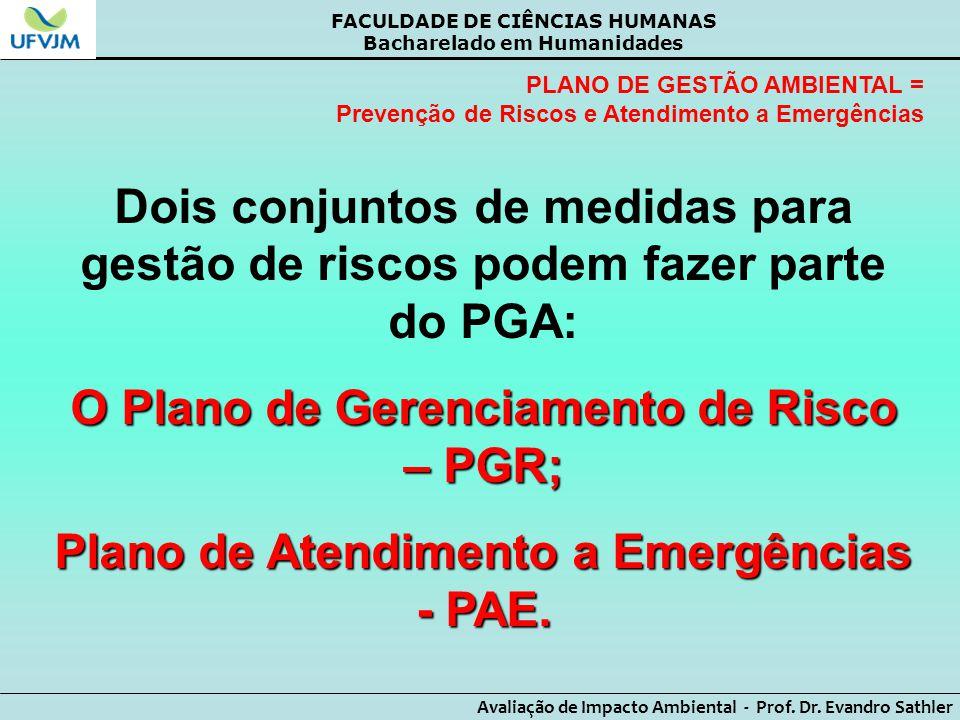 O Plano de Gerenciamento de Risco – PGR;