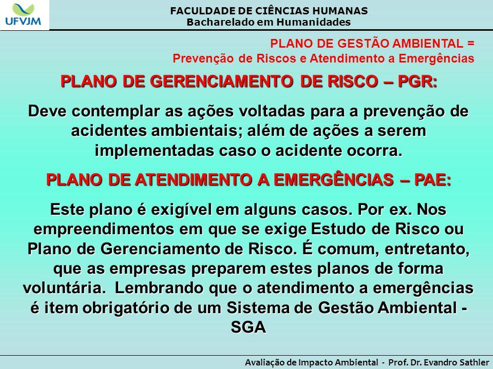 PLANO DE GERENCIAMENTO DE RISCO – PGR: