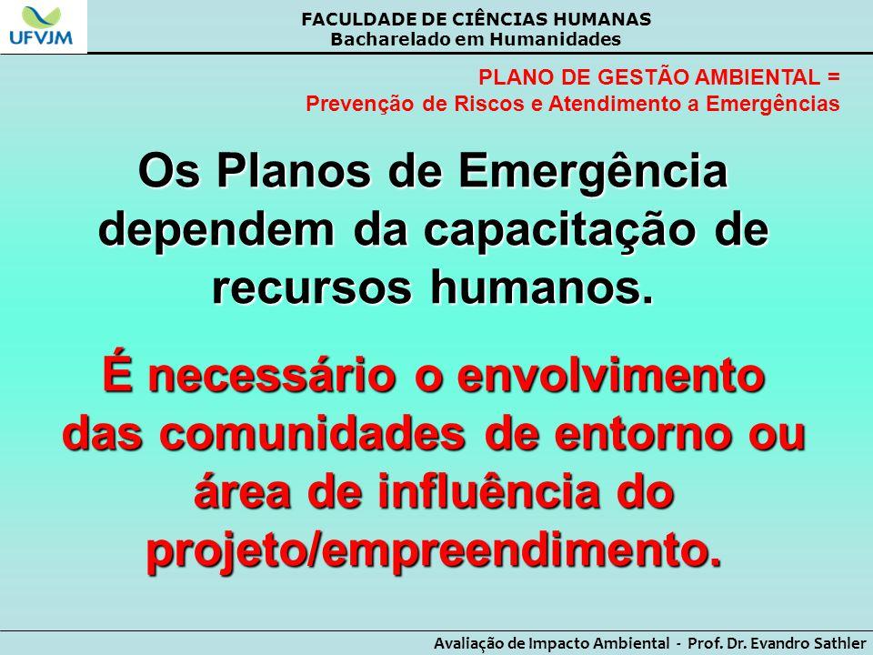Os Planos de Emergência dependem da capacitação de recursos humanos.