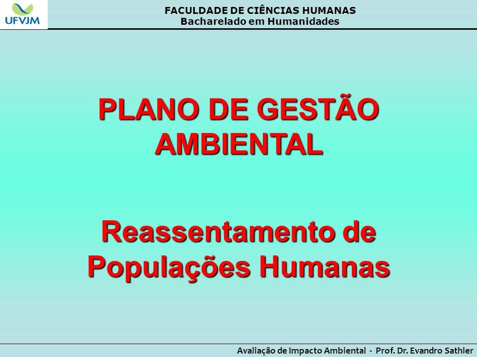 PLANO DE GESTÃO AMBIENTAL Reassentamento de Populações Humanas