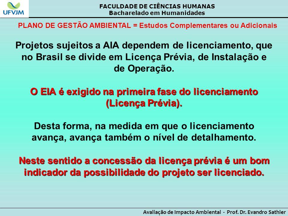 O EIA é exigido na primeira fase do licenciamento (Licença Prévia).