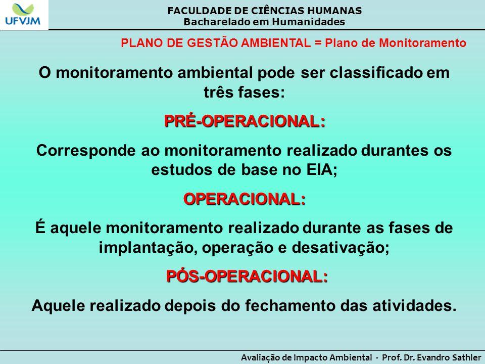 O monitoramento ambiental pode ser classificado em três fases: