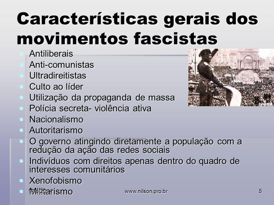 Características gerais dos movimentos fascistas