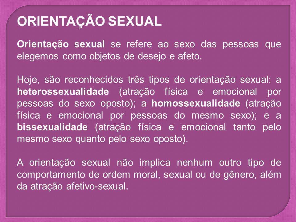 ORIENTAÇÃO SEXUAL Orientação sexual se refere ao sexo das pessoas que elegemos como objetos de desejo e afeto.