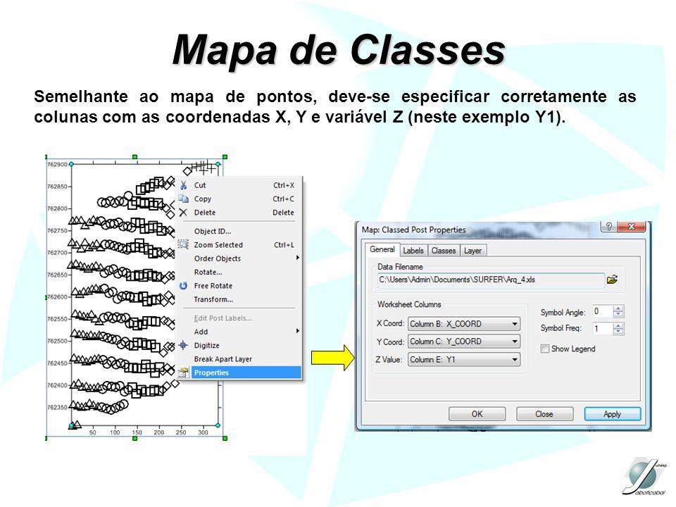 Mapa de Classes Semelhante ao mapa de pontos, deve-se especificar corretamente as colunas com as coordenadas X, Y e variável Z (neste exemplo Y1).