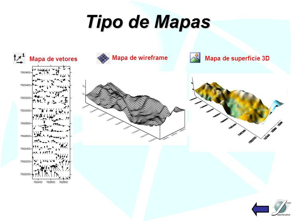 Tipo de Mapas Mapa de vetores Mapa de wireframe Mapa de superficie 3D