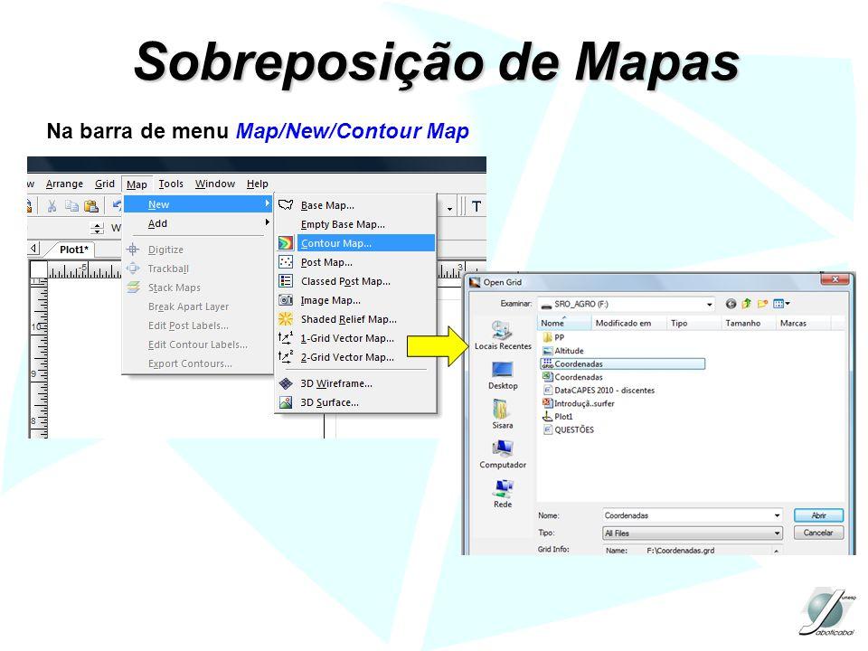 Sobreposição de Mapas Na barra de menu Map/New/Contour Map