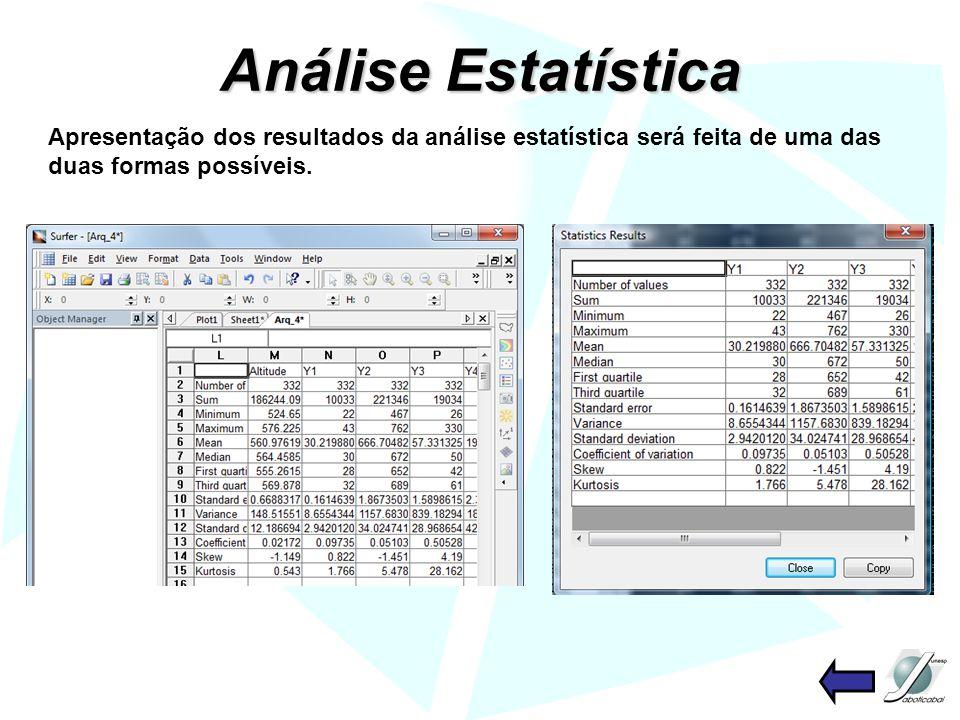 Análise Estatística Apresentação dos resultados da análise estatística será feita de uma das duas formas possíveis.