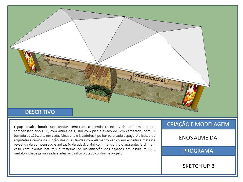 DESCRITIVO CRIAÇÃO E MODELAGEM ENOS ALMEIDA PROGRAMA SKETCH UP 8