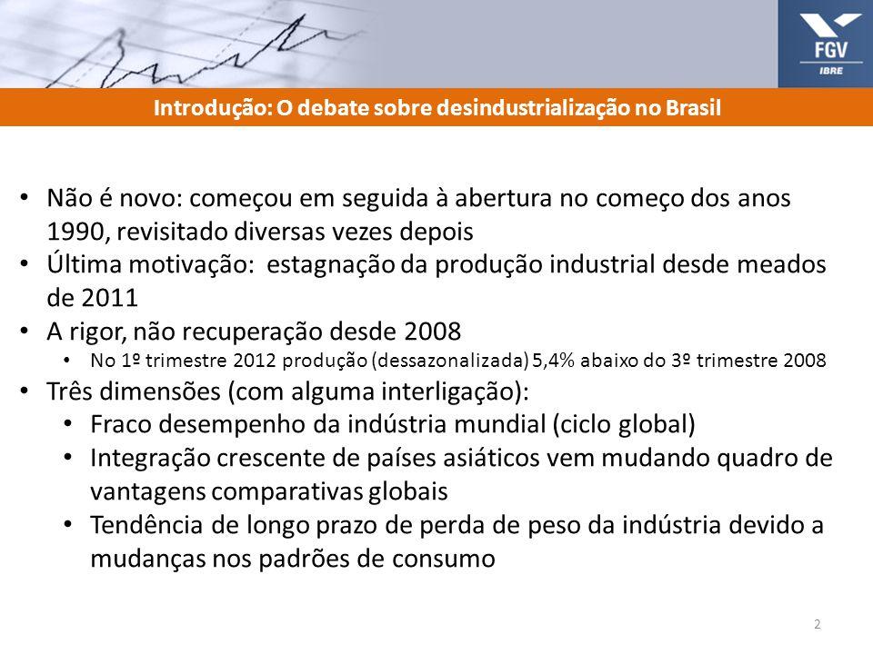 Introdução: O debate sobre desindustrialização no Brasil
