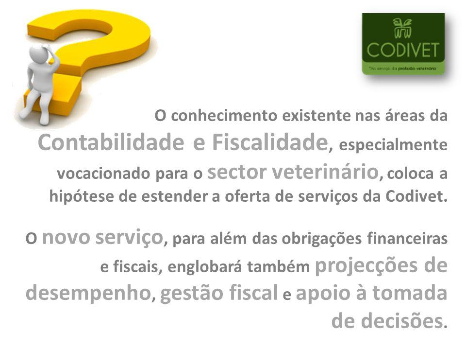O conhecimento existente nas áreas da Contabilidade e Fiscalidade, especialmente vocacionado para o sector veterinário, coloca a hipótese de estender a oferta de serviços da Codivet.