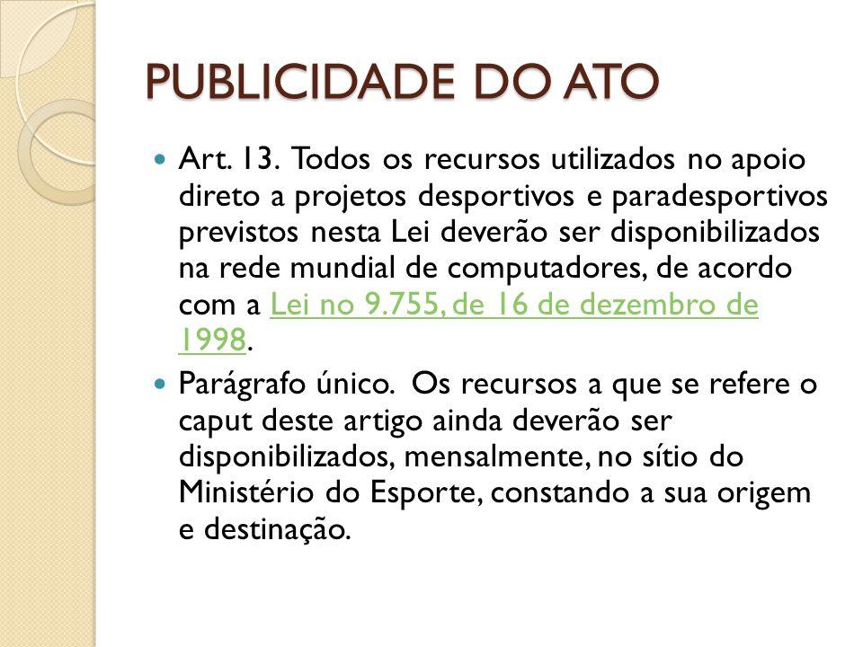 PUBLICIDADE DO ATO