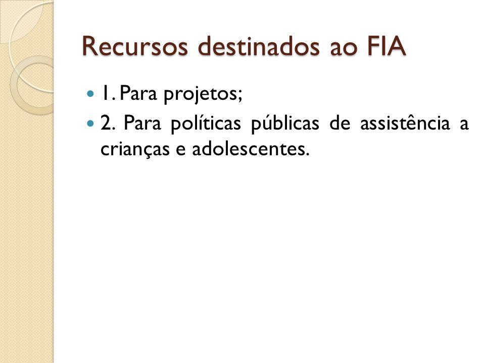 Recursos destinados ao FIA