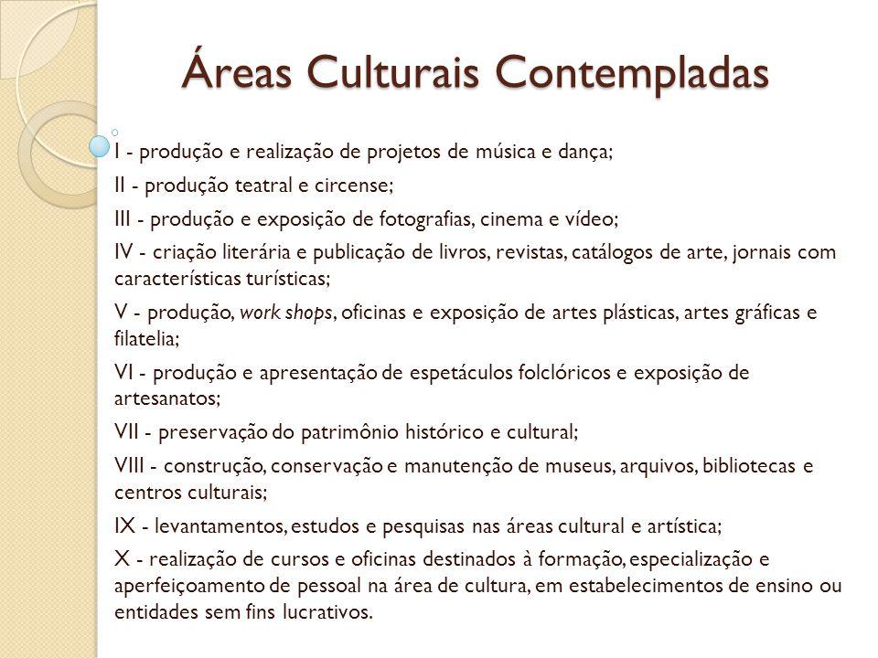 Áreas Culturais Contempladas