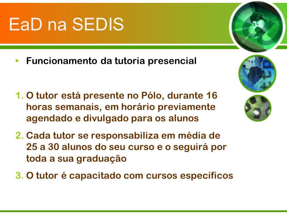 EaD na SEDIS Funcionamento da tutoria presencial