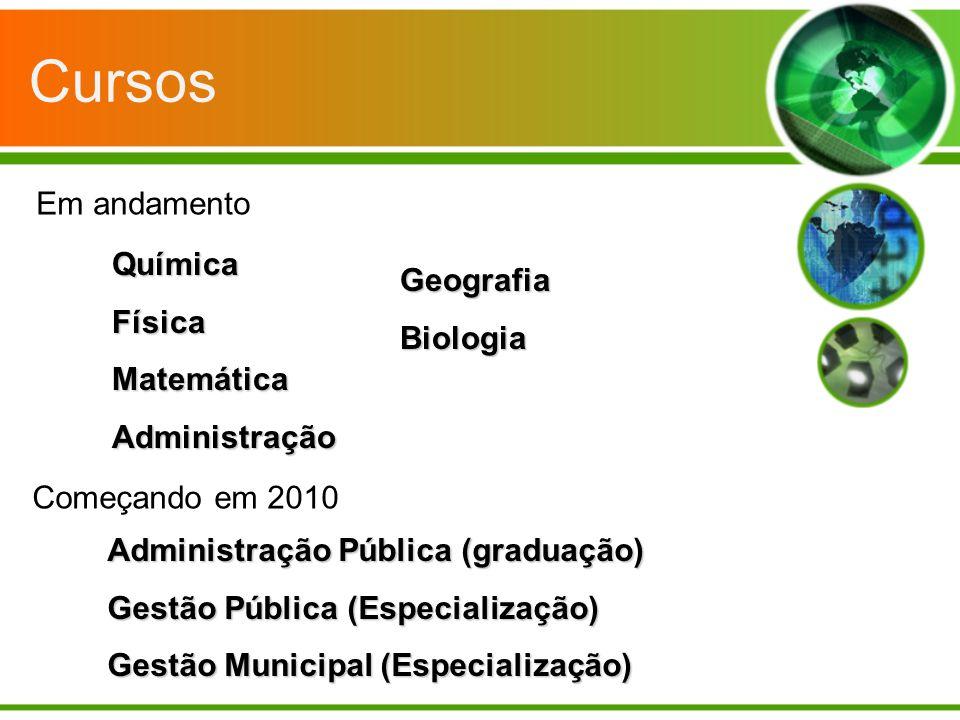 Cursos Em andamento Química Geografia Física Biologia Matemática