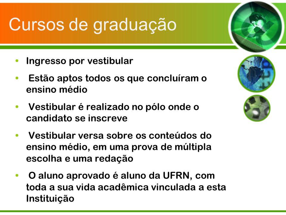 Cursos de graduação Ingresso por vestibular