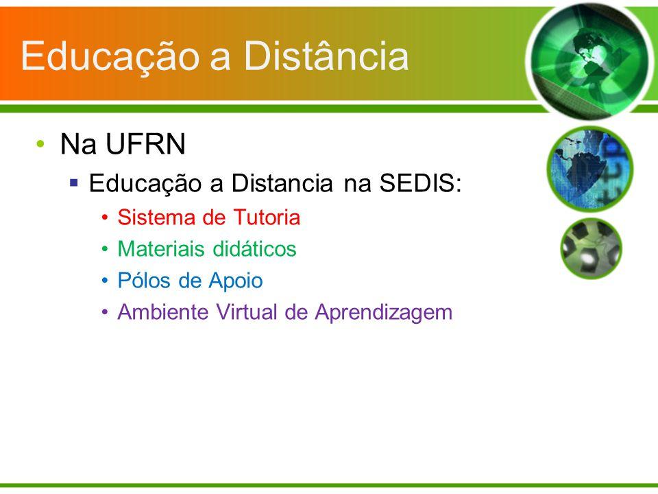 Educação a Distância Na UFRN Educação a Distancia na SEDIS: