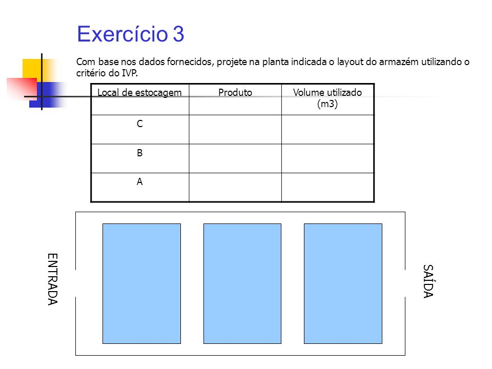 Exercício 3 ENTRADA SAÍDA