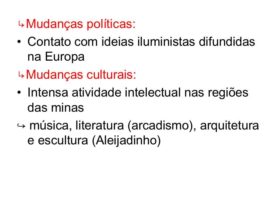 ↳Mudanças políticas: Contato com ideias iluministas difundidas na Europa. ↳Mudanças culturais: Intensa atividade intelectual nas regiões das minas.