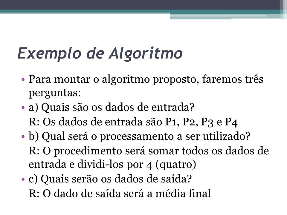 Exemplo de Algoritmo Para montar o algoritmo proposto, faremos três perguntas: a) Quais são os dados de entrada