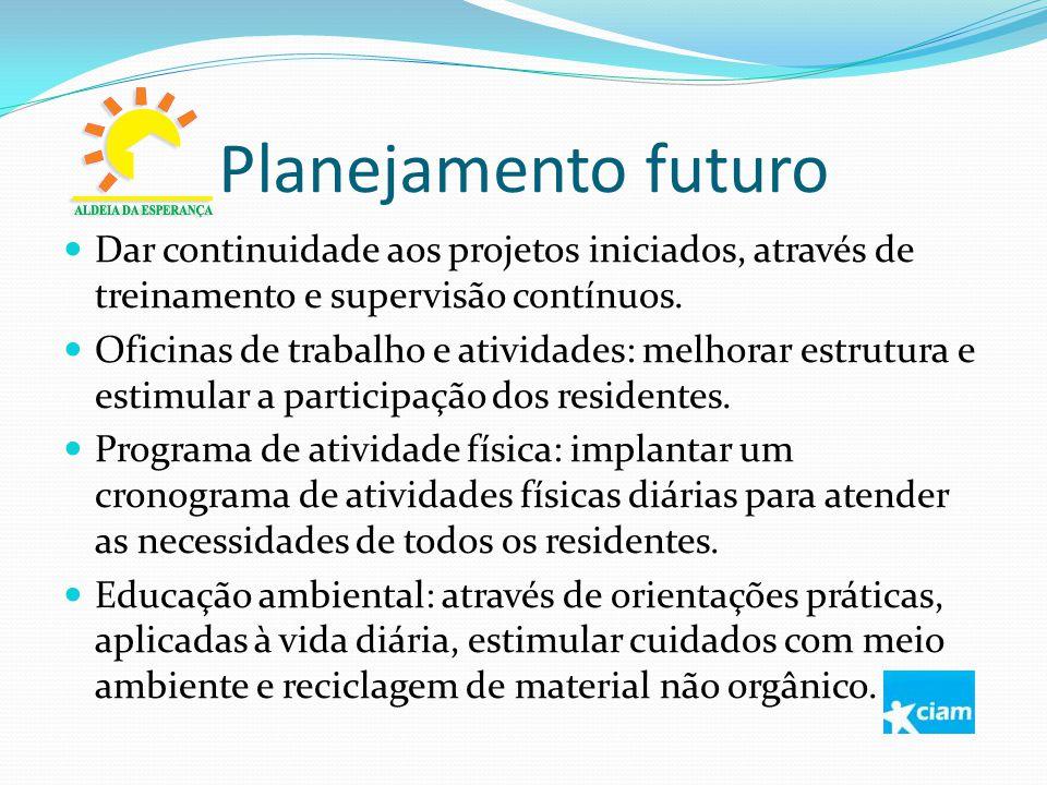 Planejamento futuro Dar continuidade aos projetos iniciados, através de treinamento e supervisão contínuos.