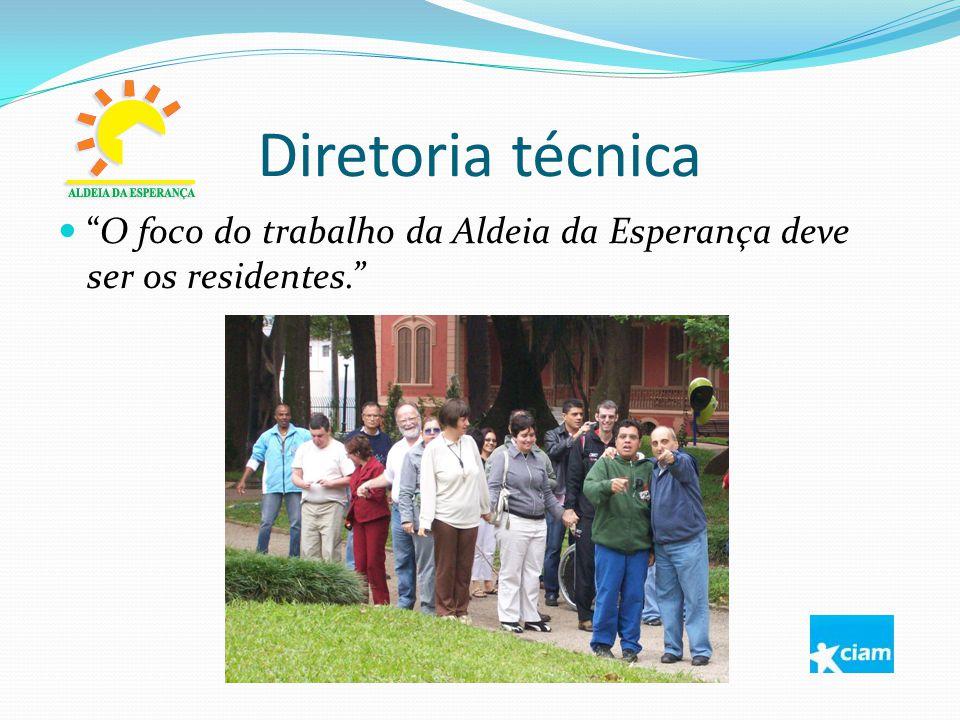 Diretoria técnica O foco do trabalho da Aldeia da Esperança deve ser os residentes.