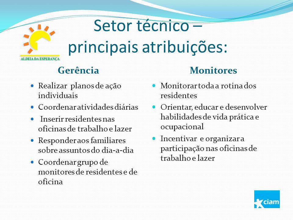 Setor técnico – principais atribuições: